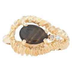 Yellow Gold Gold Sheen Sapphire & Diamond Ring, 14k Pear Cabochon Cut 1.53ctw
