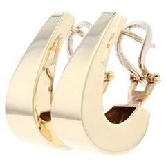 Yellow Gold Graduated J-Hoop Earrings, 14 Karat Pierced Omega Closures