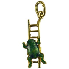 Yellow Gold Green Enamel Frog Ladder Moving Charm Pendant