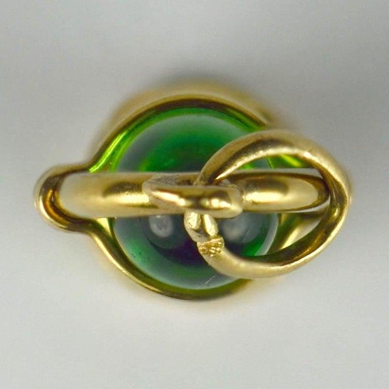 Yellow Gold Green Paste Lantern Charm Pendant For Sale 1