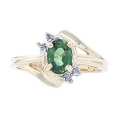 Yellow Gold Green Sapphire & Diamond Bypass Ring, 10k Oval Cut .87ctw