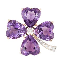 Yellow Gold Heart Shaped Amethyst Clover Pin