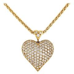 Yellow Gold Heart with Beautiful Diamonds Pendant