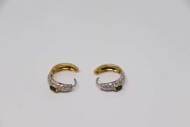 Yellow Gold Hoop Earrings with Brilliant Cut Diamonds and Blue Sapphire For Sale 2