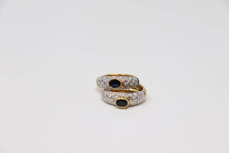 Yellow Gold Hoop Earrings with Brilliant Cut Diamonds and Blue Sapphire For Sale 5
