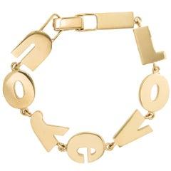 "Yellow Gold ""I Love U"" Bracelet, 1970s"