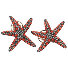 Yellow Gold Icy Diamond Coral Starfish Earrings
