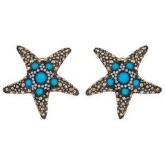 Yellow Gold Icy Diamond Turquoise Starfish Earrings