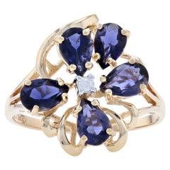 Yellow Gold Iolite & Diamond Flower Cluster Ring, 14k Pear Cut 1.52ctw