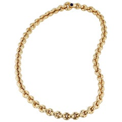 Yellow Gold Italian Link Necklace with Sapphire Cabochon Clasp