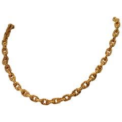 Yellow Gold Italian Woven Link Cable Chain Necklace