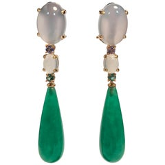 Yellow Gold, Jade, Tanzanite, Chalcedony and Emerald Chandelier Earrings