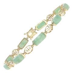 Yellow Gold Jadeite Bracelet, 14 Karat Link Women's