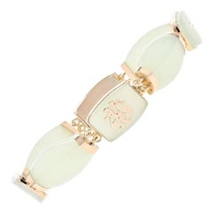 Yellow Gold Jadeite Chinese Character Link Bracelet, 14 Karat Box Clasp