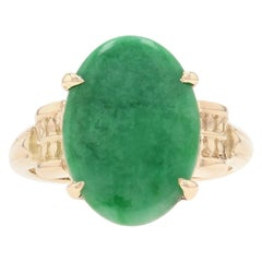 Yellow Gold Jadeite Vintage Cocktail Solitaire Ring 14k Cabochon 2.80ct Grade A