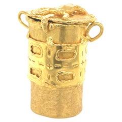 Yellow Gold Jean Mahie Box Pendant