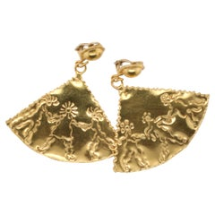 Yellow Gold Jean Mahie Fan Earrings