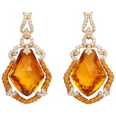 Yellow Gold, Kite Shaped Diamond, Sapphire and Citrine Ear Pendant Earrings