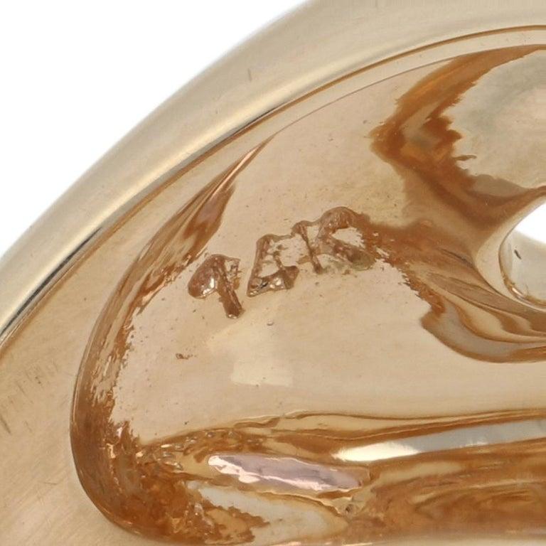 Yellow Gold Kunzite and Diamond Ring, 14 Karat Oval Cut 6.10 Carat For Sale 3