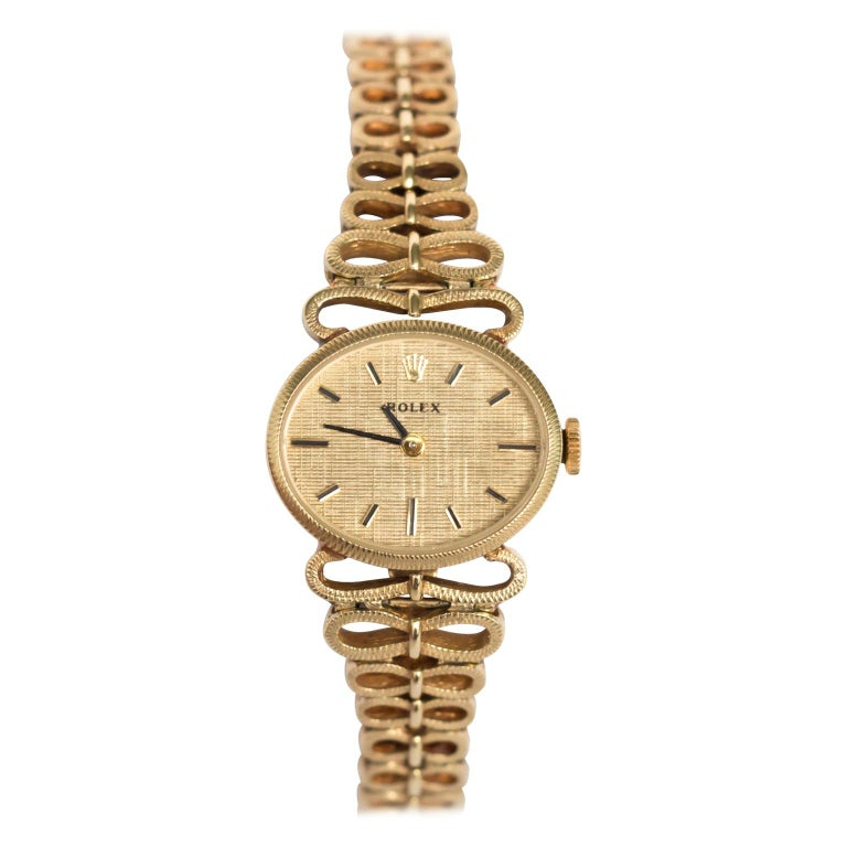 Yellow Gold Ladies Rolex 1940s Watch For Sale
