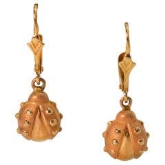 Yellow Gold Lady Bug Earrings