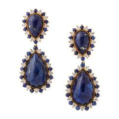 Yellow Gold Lapis, & Diamond Clip-On Drop Earrings
