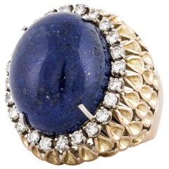 Yellow Gold Lapis Diamond Ring