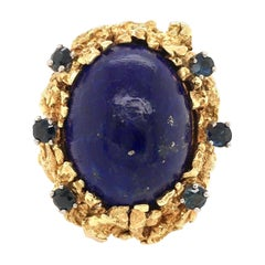 Yellow Gold, Lapis Lazuli and Sapphire Ring