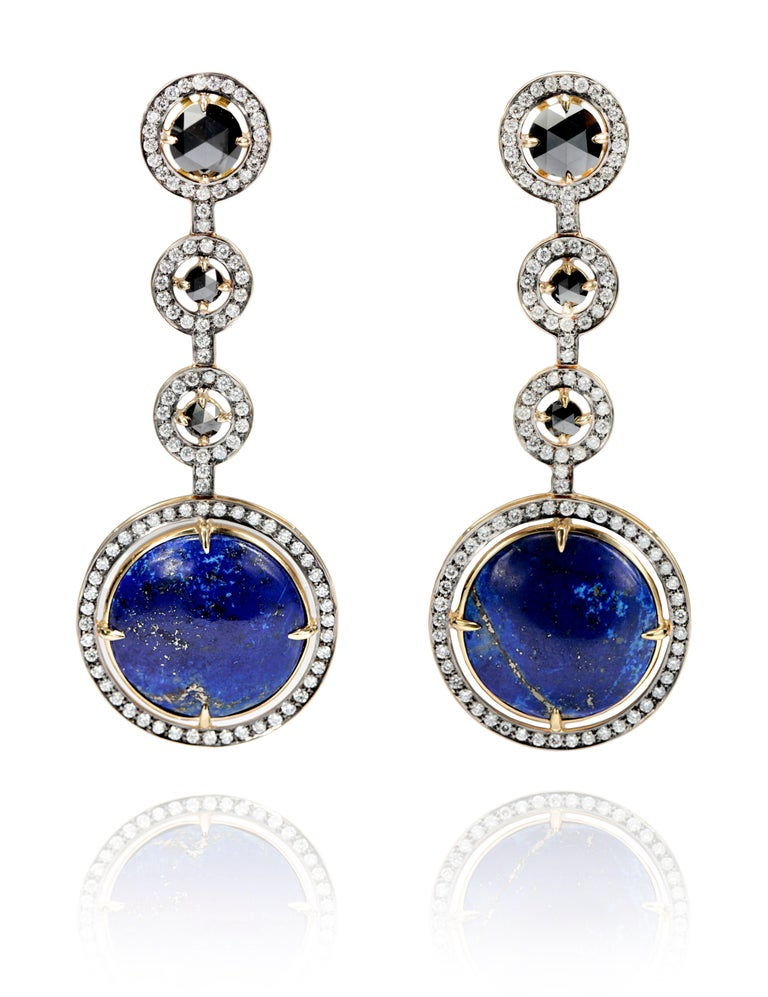 18k Yellow Gold Earrings, Lapis Lazuli (38.76ct ), Black Diamonds (6ct), White Diamonds (2.7ct) Ref: EA05-25 Special and elegant piece of art. Lapis Lazuli is a universal symbol of wisdom and truth. Stimulates objectivity, clarity and encourages