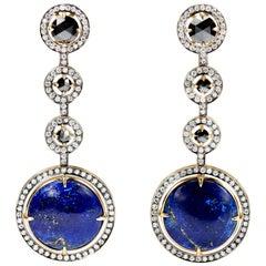Yellow Gold, Lapis Lazuli, Black and White Diamonds Earrings