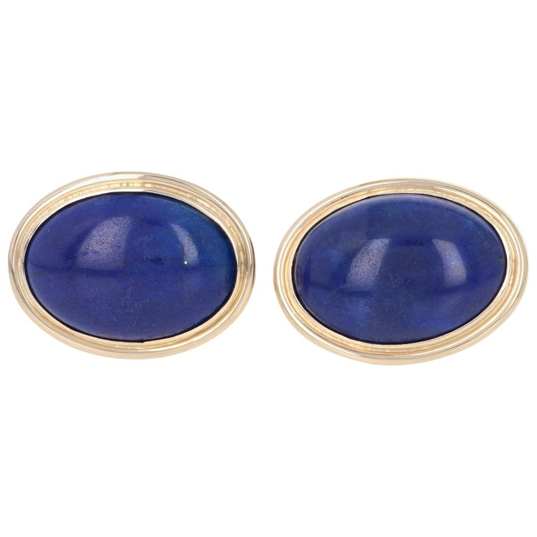 Yellow Gold Lapis Lazuli Cufflinks, 14 Karat Oval Cabochon Cut Men's Gift For Sale