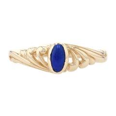 Yellow Gold Lapis Lazuli Solitaire Ring, 14k