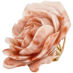 Yellow Gold Large Carved Coral Rose Ring