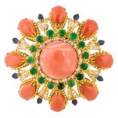 Yellow Gold Large Coral Pin