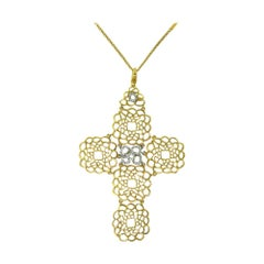 Yellow Gold Large Filigree Cross Pendant Necklace with Diamonds