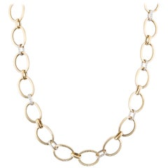 Yellow Gold Large Link Diamond Necklace