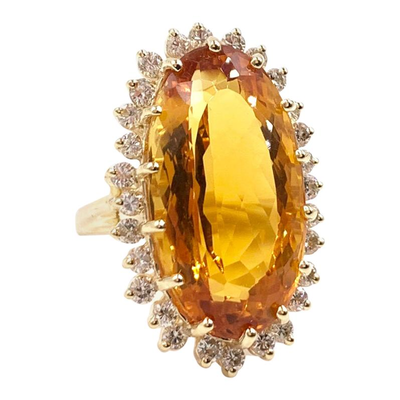 Yellow Gold Large Oval Citrine and Diamond Cocktail Ring