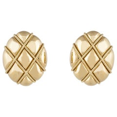 Yellow Gold Lattice Patterned Earrings