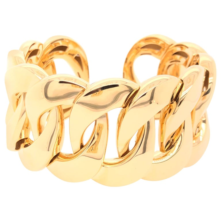 Yellow Gold Large Link Bracelet For Sale