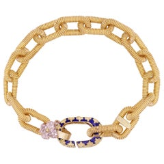 Yellow Gold Link Bracelet with Diamonds and Blue Enamel Stambolian