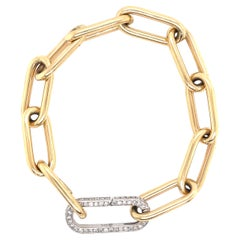 Yellow Gold Link Chain Bracelet with White Gold Diamond Clasp