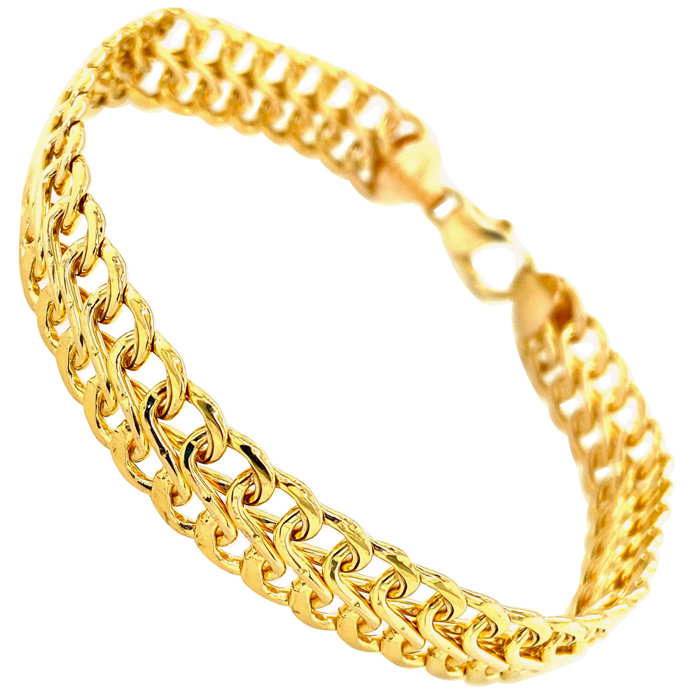 Yellow Gold Link Mesh Bracelet