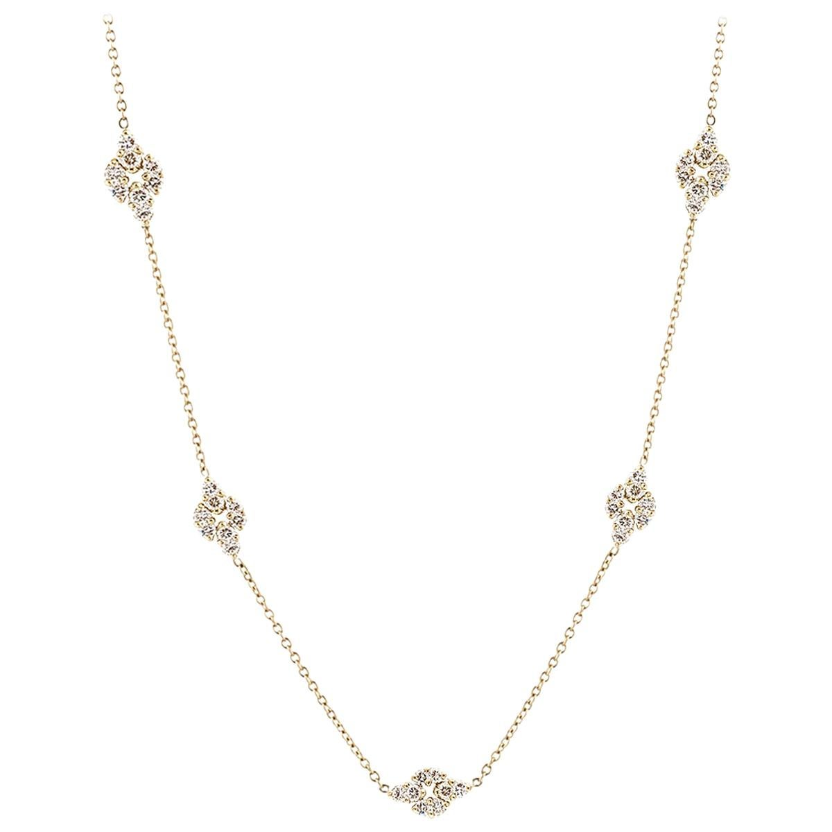 Long Chain Necklace with Diamond Stations in 18K Gold