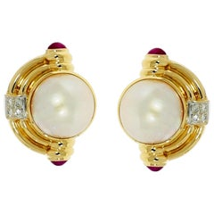 Yellow Gold Mabe Pearl with Diamond and Ruby Earrings