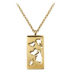 Yellow Gold Map Necklace with Laser Cutout World Pendant by Cristina Ramella