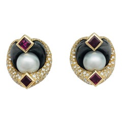 Marina B. Earrings Set with Hematites, Rubies, Pearls, and Diamonds
