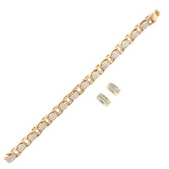 Yellow Gold Matching Princess Cut Diamond Bracelet and Earrings Set
