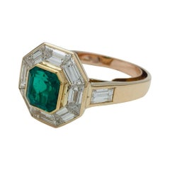 Yellow Gold Mellerio Engagement Ring, Emerald and Diamonds