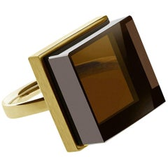 Yellow Gold Men Ring with Light Smoky Quartz, Featured in Vogue