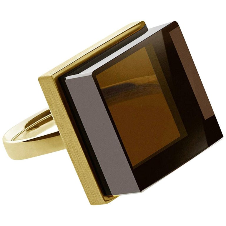 Yellow Gold Men Ring with Light Smoky Quartz, Featured in Vogue For Sale